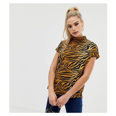 ASOS DESIGN Tall short sleeve high neck top in tiger animal print-Multi