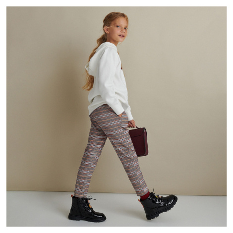 Reserved - Kostkované kalhoty - Růžová
