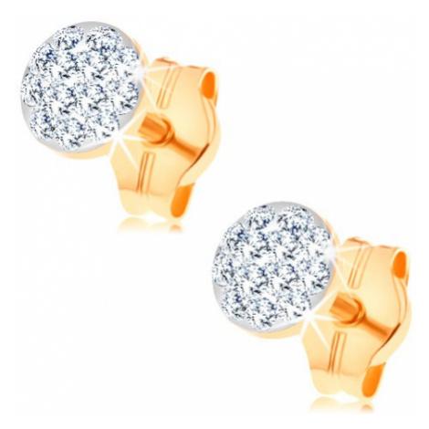 Náušnice ze žlutého 14K zlata - kruh posetý čirými krystalky Swarovski Šperky eshop