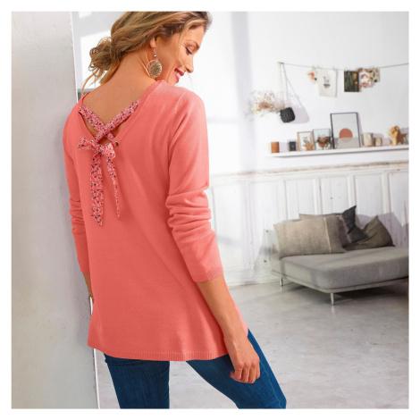 Blancheporte Jednobarevný pulovr se šněrováním zádech, minimalistický design korálová