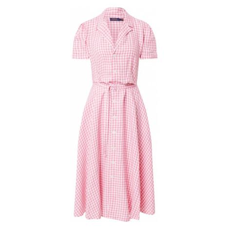 POLO RALPH LAUREN Košilové šaty světle růžová / bílá