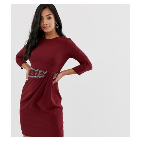 Little Mistress long sleeve waist detail shift dress-Pink Little Mistress Petite