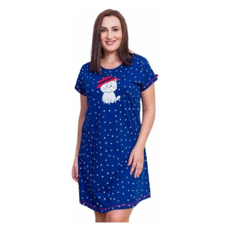 Dámská noční košile Vienetta Secret Kočka s kloboukem nadměr | tmavě modrá