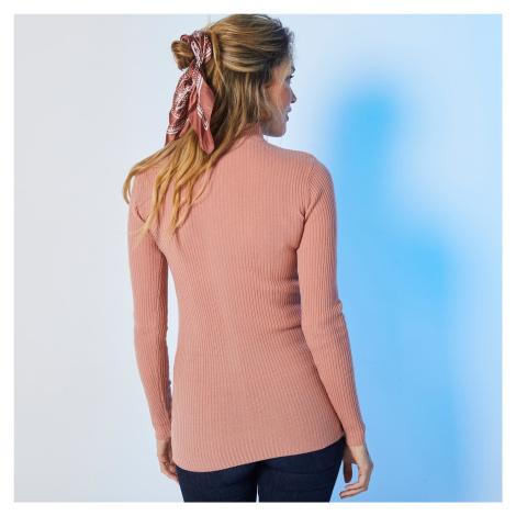 Blancheporte Žebrovaný pulovr se stojáčkem, délka cca 72 cm růžové dřevo