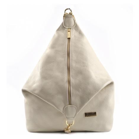 BRIGHT Dámský kožený batoh s kolmým zipem Béžový, 29 x 14 x 38 (BR19-LDJ4052-05DOL)