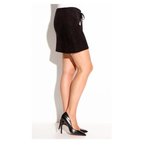 Ultra krátká sukně z imitace semiše černá