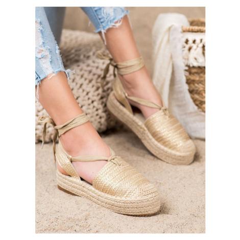 Pěkné  sandály dámské zlaté bez podpatku Seastar