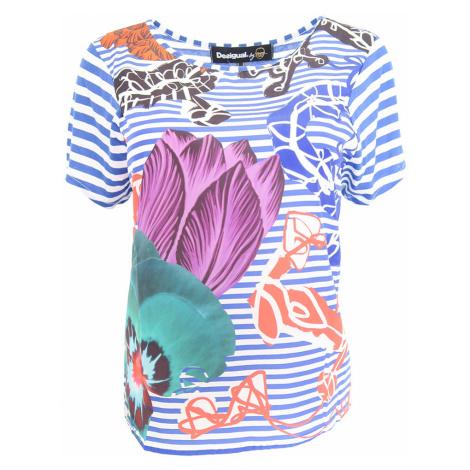 Desigual pruhované triko s barevnými květy