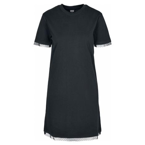 Urban Classics Dámské tričkové šaty Boxy s krajkovým lemem šaty černá
