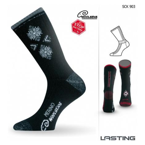 Ponožky vysoké Lasting SCK 85% Merino - zimní treking / lyže - šedočerné