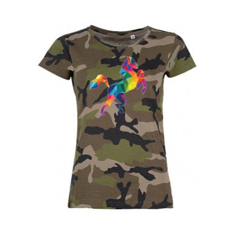 Dámské maskáčové tričko Kůň z polygonů