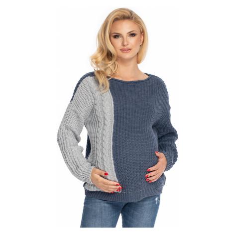Šedo-modrý těhotenský pulovr 70039 PeeKaBoo