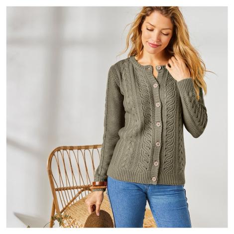 Blancheporte Kardigan s copánkovým pleteným vzorem khaki