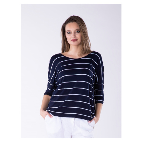 Look Made With Love Woman's Blouse 311 Paris Navy Blue/White