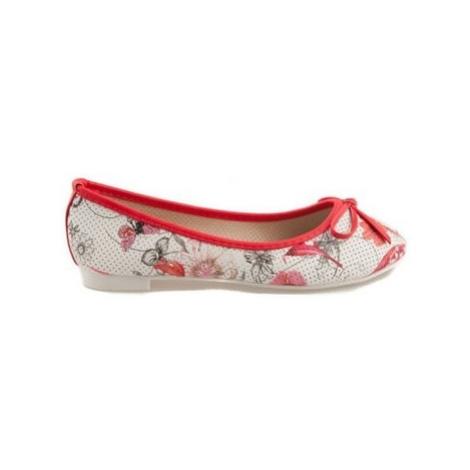Vices Červené balerínky s květy ruznobarevne