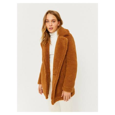Tally Weijl hnědý kabát z umělého kožíšku