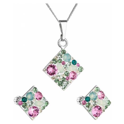 Sada šperků s krystaly Swarovski náušnice, řetízek a přívěsek zelený kosočtverec 39126.3 chrysol Victum