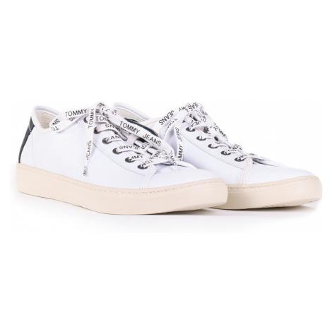 Tommy Jeans pánské bílé kožené tenisky Tommy Hilfiger