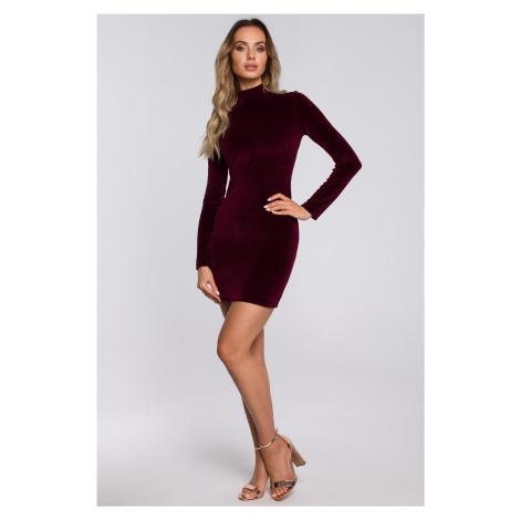 Mini sexy šaty sametové s rolákem a dlouhými rukávy