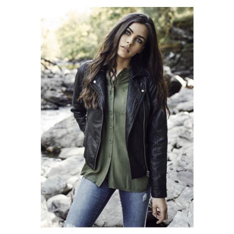 Urban Classics Ladies Leather Imitation Biker Jacket black