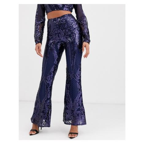 Club L London sequin baroque wide leg trouser in navy-Blue