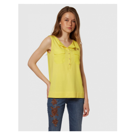 Košile La Martina Woman Shirt Sleeveless Viscose - Žlutá