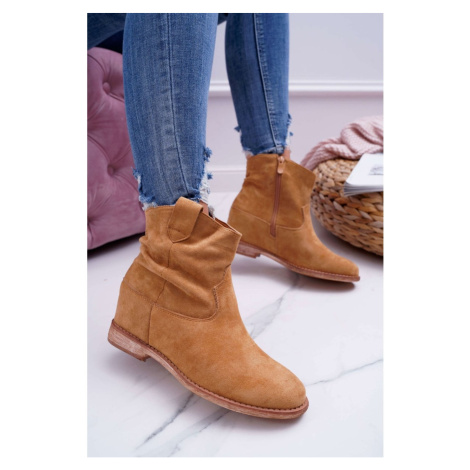 Women's Boots On Wedge Camel Ellen Kesi