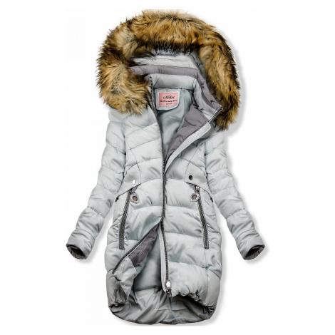 Baby blue prodloužená bunda s kapucí Butikovo