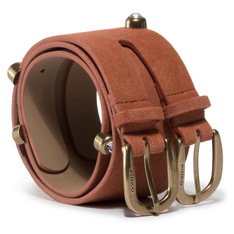 Hnědý semišový kožený pásek - PINKO