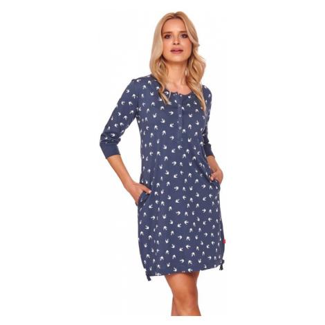 DN Nightwear Mateřská noční košile Connie modrá vlaštovky