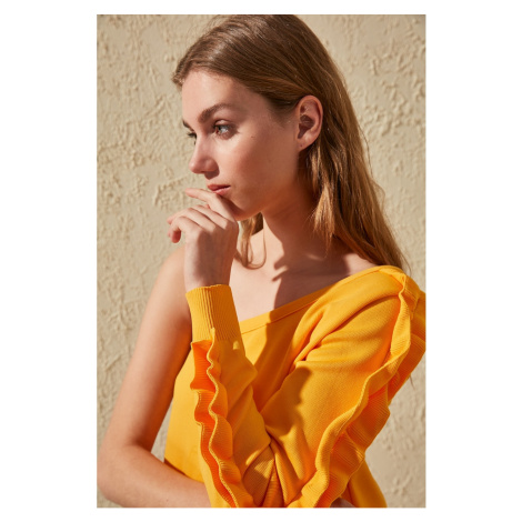 Trendyol Yellow Arm Frilled One Shoulder Knit Sweater