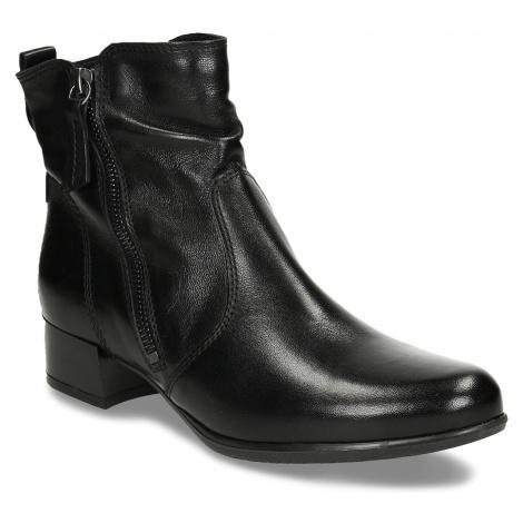 Kožená dámská kotníková obuv černá Baťa