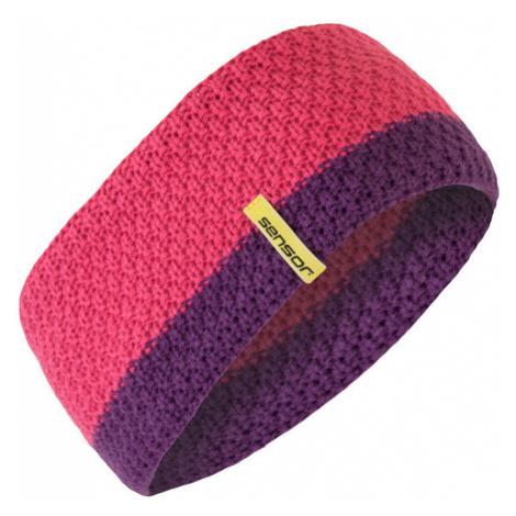 ČELENKA Uni pletená čelenka 18200077 růžová UNI Sensor