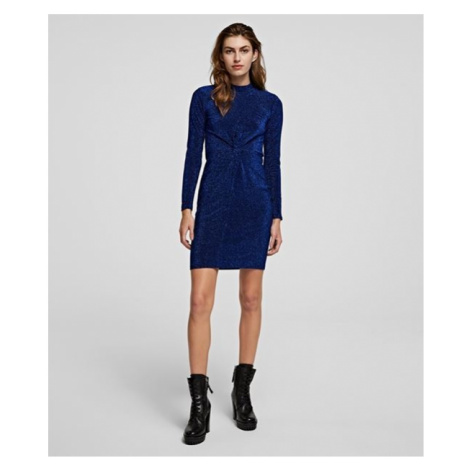 Šaty Karl Lagerfeld Lurex Jersey Dress W/Twist - Modrá