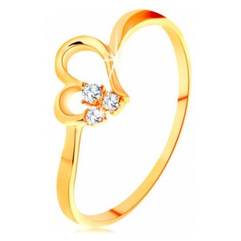Prsten ze žlutého 14K zlata - kontura nesouměrného srdíčka, čiré zirkony Šperky eshop