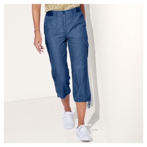 Blancheporte 3/4 denimové kalhoty s úpletový pasem denim