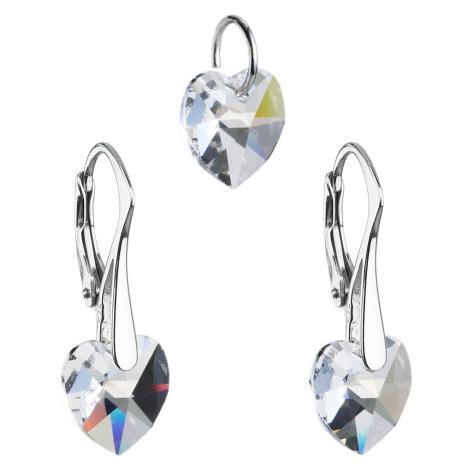 Sada šperků s krystaly Swarovski náušnice a přívěsek bílá srdce 39003.1 Victum