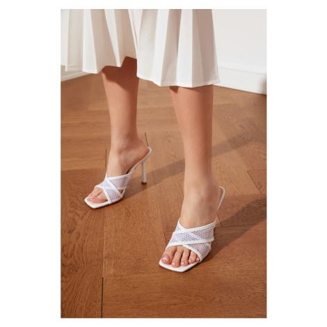 Trendyol White Blunt Nosed File Women's Slippers