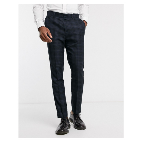 New Look check suit trouser in navy