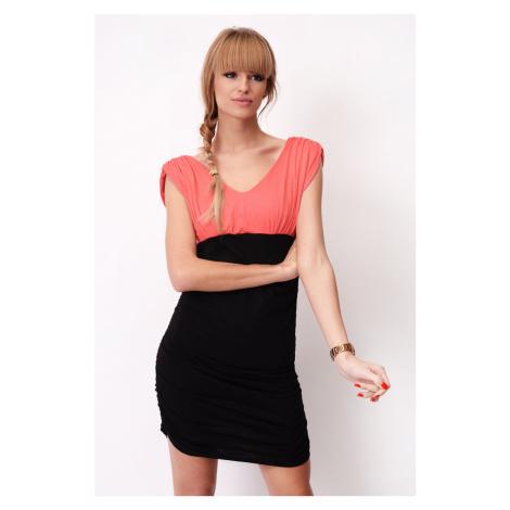 Dvoubarevné šaty bez rukávů s řasením barva korálová/černá
