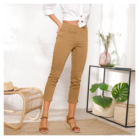 Blancheporte 3/4 plátěné kalhoty s pružným pasem kari