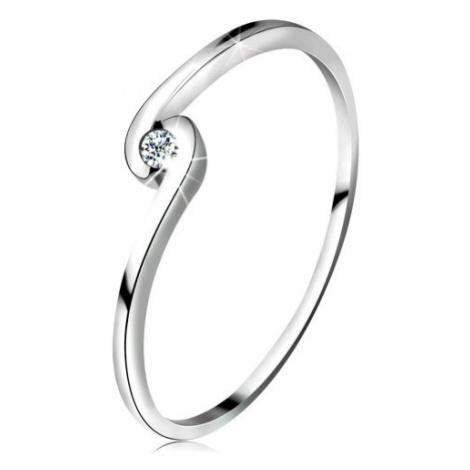 Prsten z bílého zlata 14K - kulatý čirý zirkon mezi zahnutými rameny Šperky eshop