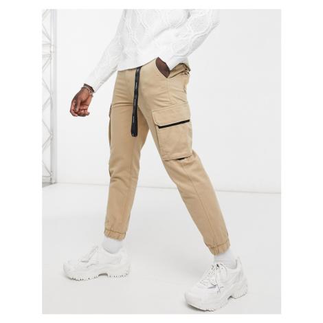 Bershka cargo trousers with key chain in camel-Beige
