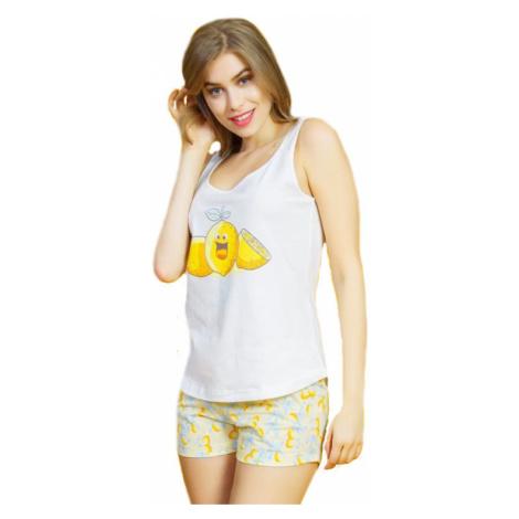 Dámské pyžamo šortky na ramínka Vienetta Secret Citrony   bílá