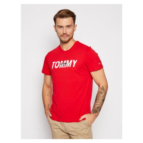 Tommy Jeans pánské červené tričko Layred graphic tee
