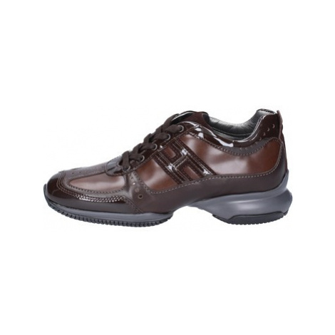 Hogan Sneakers Pelle Vernice Hnědá