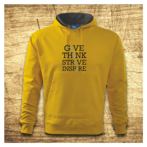 Mikina s kapucňou s motívom Give, think, strive, inspire BezvaTriko