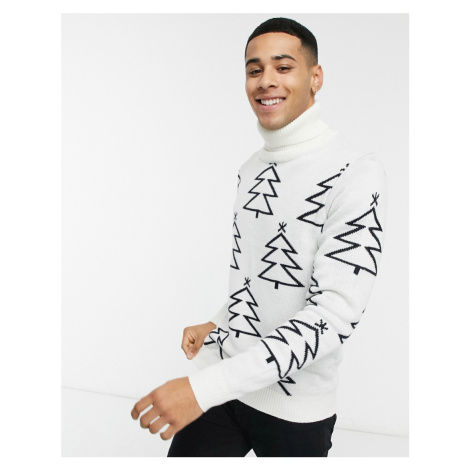 Threadbare christmas tree jumper in off white and navy