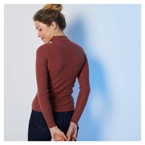 Blancheporte Žebrovaný pulovr se stojáčkem, délka cca 63 cm mahagonová