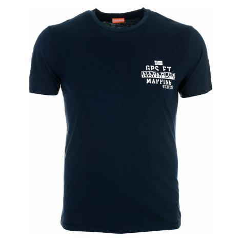 Pánské modré tričko Napapijri s drobným potiskem
